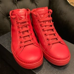 Prada high top leather shoes